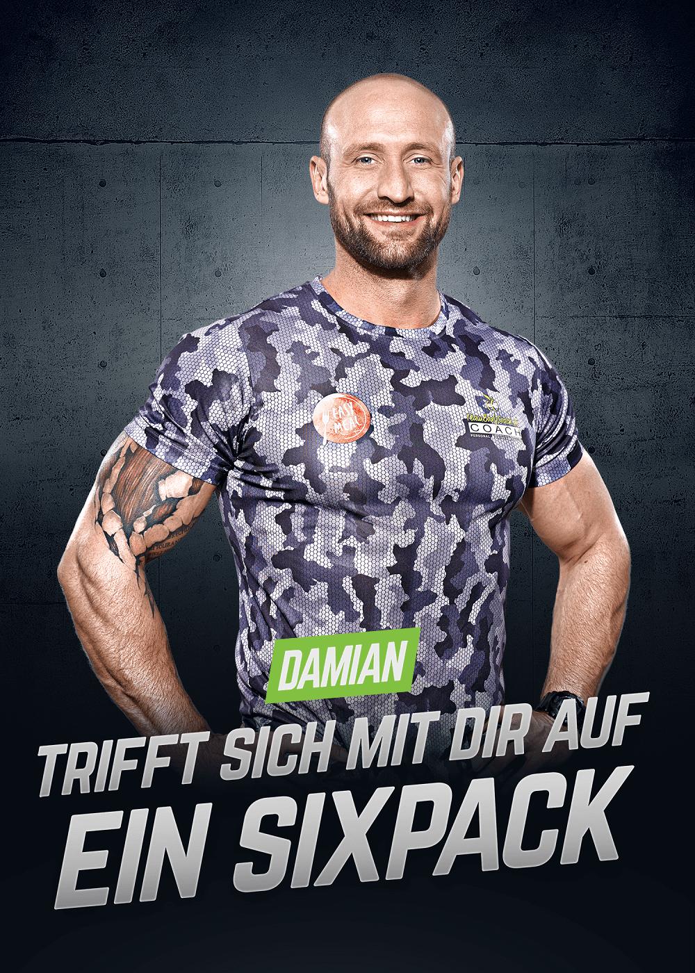 Personal Fitness Trainer Damian trifft sich mit dir auf ein Sixpack